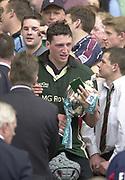 10/04/2002 - Powergen National Cup Final - Twickenham.London Irish vs Northampton..Declan Danaher, with the Powergen trophy and winners medal..