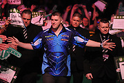 Daryl Gurney, 2017 World Grand Prix champion. Premier League debutant during the Unibet Premier League Darts Night 13 competition at the Manchester Arena, Manchester, United Kingdom on 26 April 2018. Picture by Mark Pollitt.