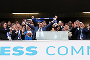 Brighton & Hove Albion Chairman Tony Bloom and CEO Paul Barber celebrate promotion to the Premier League after the EFL Sky Bet Championship match between Brighton and Hove Albion and Wigan Athletic at the American Express Community Stadium, Brighton and Hove, England on 17 April 2017.