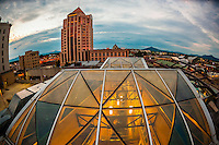 Glass skylights of the Center in the Square Building (in foreground) and Wells Fargo Tower in back, Downtown Roanoke, Virginia USA.
