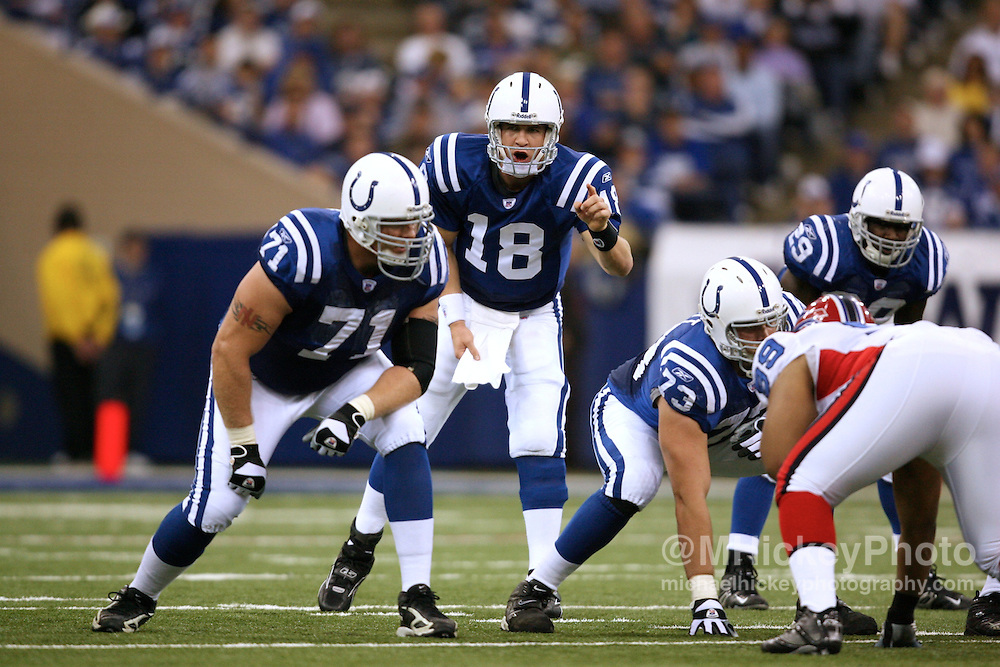 WireImage #11385610--Indianapolis Colts quarterback Peyton Manning calls out signals at the line during action against Buffalo at the RCA Dome in Indianapolis, Indiana on November 12, 2006.