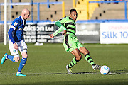 Forest Green Rovers Ethan Pinnock(16) passes the ball during the FA Trophy match between Macclesfield Town and Forest Green Rovers at Moss Rose, Macclesfield, United Kingdom on 4 February 2017. Photo by Shane Healey.
