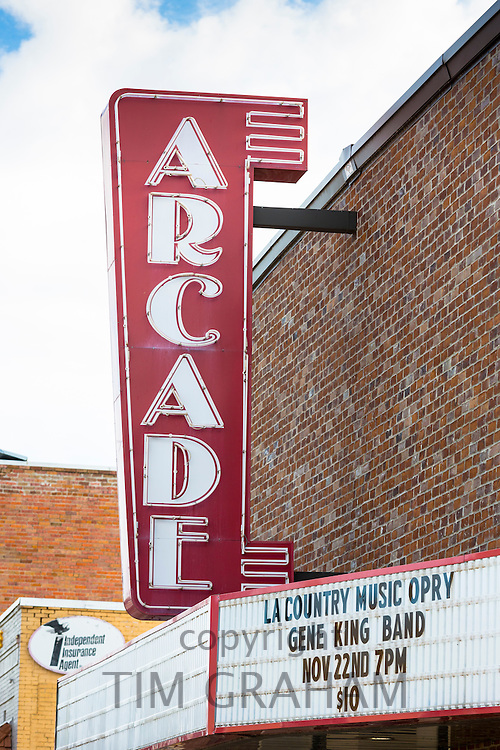 Arcade movie theatre sign for Country Music Opry on The Blues Trail - Mississippi Louisiana by Delta Music Museum, Ferriday USA