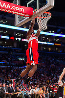 22 March 2013: Forward (9) Martell Webster of the Washington Wizards dunks the ball against the Los Angeles Lakers during the second half of the Wizards 103-100 victory over the Lakers at the STAPLES Center in Los Angeles, CA.