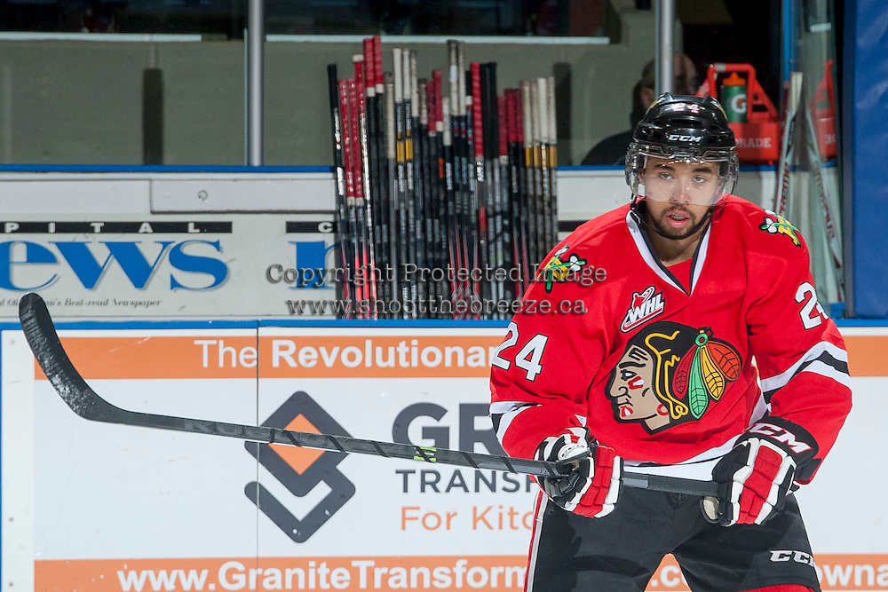 KELOWNA, CANADA - APRIL 25: Mathew Dumba #24 of the Portland Winterhawks warms up against the Kelowna Rockets on April 25, 2014 during Game 5 of the third round of WHL Playoffs at Prospera Place in Kelowna, British Columbia, Canada. The Portland Winterhawks won 7 - 3 and took the Western Conference Championship for the fourth year in a row earning them a place in the WHL final.  (Photo by Marissa Baecker/Getty Images)  *** Local Caption *** Mathew Dumba;