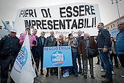 2013/03/23 Roma, manifestazione del PDL Popolo della Liberta'. Nella foto alcuni manifestanti.<br /> Rome, Popolo della Liberta' (reading The Peolple of Freedom Party) demo. In the picture some supporters holds a banner reading ' proud to be unpresentables ' - &copy; PIERPAOLO SCAVUZZO