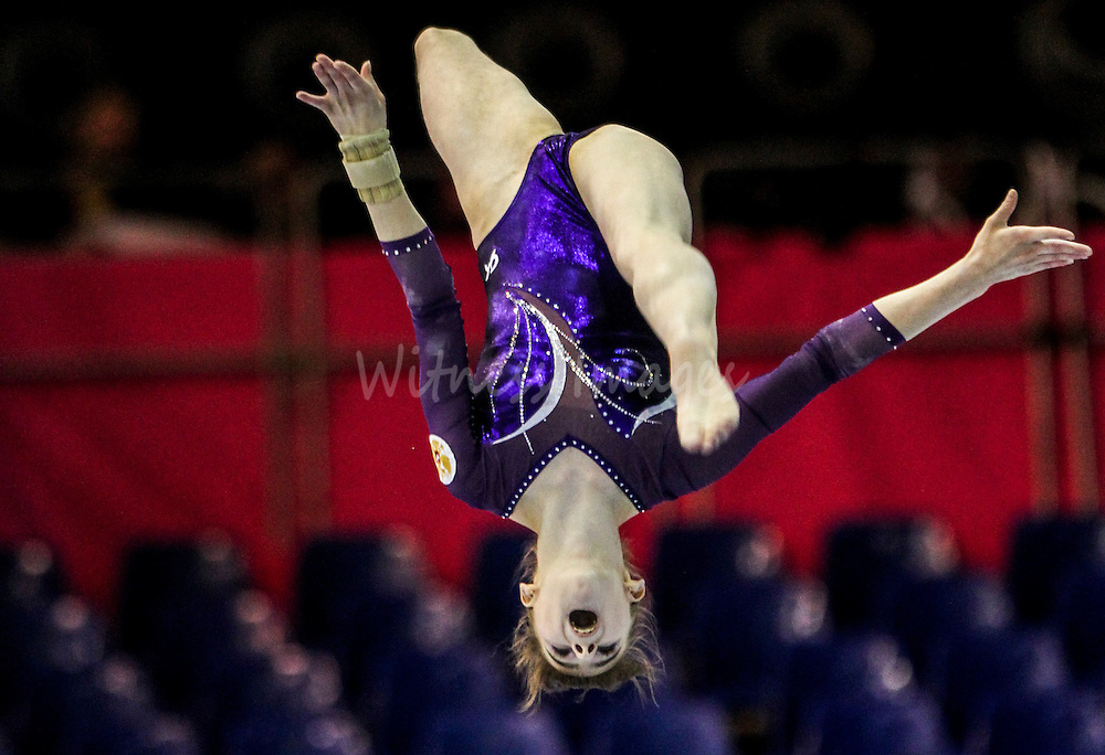 Russian Grishina competes on the beam during the seniors team final at the Women Artistic Gymnastics European Championships in Brussels, Belgium, 12 May 2012. Romanania won the team final ahead of Russia, second and Italy who took the third place.