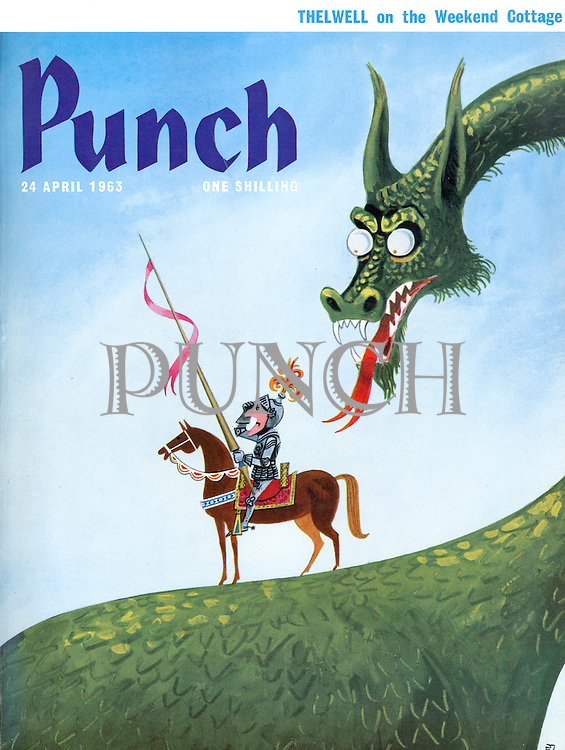 Punch Front cover - 24 April 1963 (cartoon showing St. George looking for the Dragon not realising he is actually standing on it)