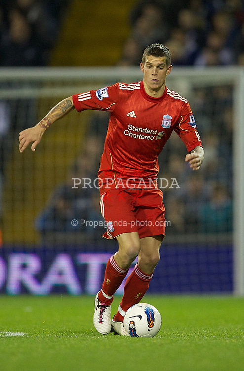 WEST BROMWICH, ENGLAND - Saturday, October 29, 2011: Liverpool's Daniel Agger in action against West Bromwich Albion during the Premiership match at The Hawthorns. (Pic by David Rawcliffe/Propaganda)