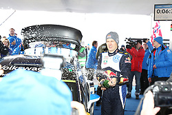 15.02.2015,  Karlstad, SWE, FIA, WRC, Schweden Rallye, im Bild Sebastien Ogier (Volkswagen Motorsport/Polo R WRC) with Champagne // during the WRC Sweden Rallye at the Karlstad in Karlstad, Sweden on 2015/02/15. EXPA Pictures © 2015, PhotoCredit: EXPA/ Eibner-Pressefoto/ Bermel<br /> <br /> *****ATTENTION - OUT of GER*****