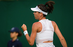 July 1, 2019 - London, GREAT BRITAIN - Ajla Tomljanovic of Australia in action during her first round match at the 2019 Wimbledon Championships Grand Slam Tennis Tournament against Daria Kasatkina of Russia (Credit Image: © AFP7 via ZUMA Wire)