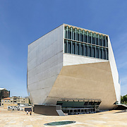 PORTO, PORTUGAL - JULY 05, 2015: View of Casa da Musica - House of Music Modern Oporto Concert Hall, the first building in Portugal exclusively dedicated to music, designed by the Dutch architect Rem Koolhaas in Porto, Portugal on JULY 05, 2015.