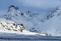 Slaga and Mount Rótarfjall in winter, Öræfi Southeast Iceland.