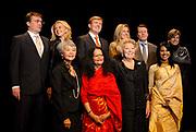 Uitreiking van de Prins Claus Prijs in muziekgebouw aan het IJ //  Presentation of the Prince Claus Award in the Amsterdam Music Hall.<br /> <br /> On the photo:<br /> <br />  Princess Maxima with Prince Willem Alexander , Princess Mabel with Prince Friso , Princess Laurentien with Prince Constantijn, Queen Beatrix with the award winners