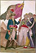 Napoleon Bonaparte (1769-1821) in Egypt, 1798-1799. Anonymous engraving. Bibliotheque Nationale, Paris.