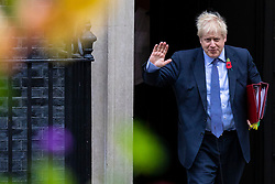 © Licensed to London News Pictures. 30/10/2019. London, UK. Prime Minister Boris Johnson leaves 10 Downing Street as he heads to parliament for Prime Minister's Questions. MPs have voted in favour of a 12 December general election in order to break the deadlock in parliament over Brexit. Photo credit: Rob Pinney/LNP