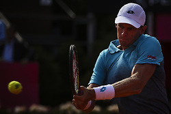 May 3, 2018 - Estoril, Portugal - Kevin Anderson from South Africa returns the ball to Stefanos Tsitsipas from Greece during the Millennium Estoril Open tennis tournament in Estoril, outskirts of Lisbon, Portugal on May 1, 2018  (Credit Image: © Carlos Costa/NurPhoto via ZUMA Press)