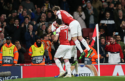Pierre-Emerick Aubameyang of Arsenal celebrates scoring to make it 3-1 - Mandatory by-line: Arron Gent/JMP - 02/05/2019 - FOOTBALL - Emirates Stadium - London, England - Arsenal v Valencia - UEFA Europa League Semi-Final 1st Leg