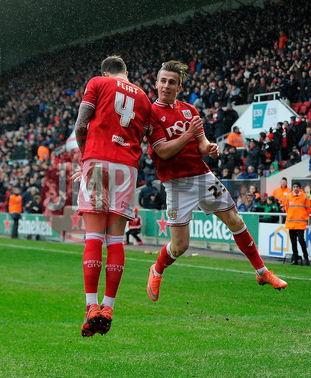 Aden Flint of Bristol City celebrates his second goal of the game with Joe Bryan of Bristol City    - Mandatory byline: Joe Meredith/JMP - 13/02/2016 - FOOTBALL - Ashton Gate - Bristol, England - Bristol City v Ipswich Town - Sky Bet Championship