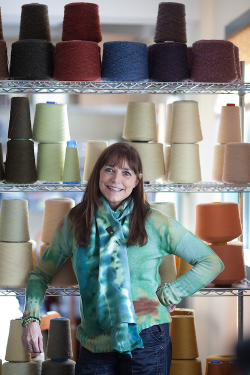Actor Karen Allen, modeling one of her scarfs, is seen in her textiles studio in Great Barrington, Mass., on February 16, 2010. (Matthew Cavanaugh for The Boston Globe)