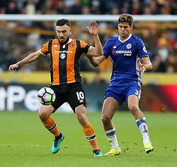 Robert Snodgrass of Hull City and Marcos Alonso of Chelsea - Mandatory by-line: Matt McNulty/JMP - 01/10/2016 - FOOTBALL - KC Stadium - Hull, England - Hull City v Chelsea - Premier League