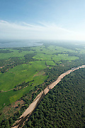 Aerial of the Mahaweli river bordering the Wasgamuwa National Park.