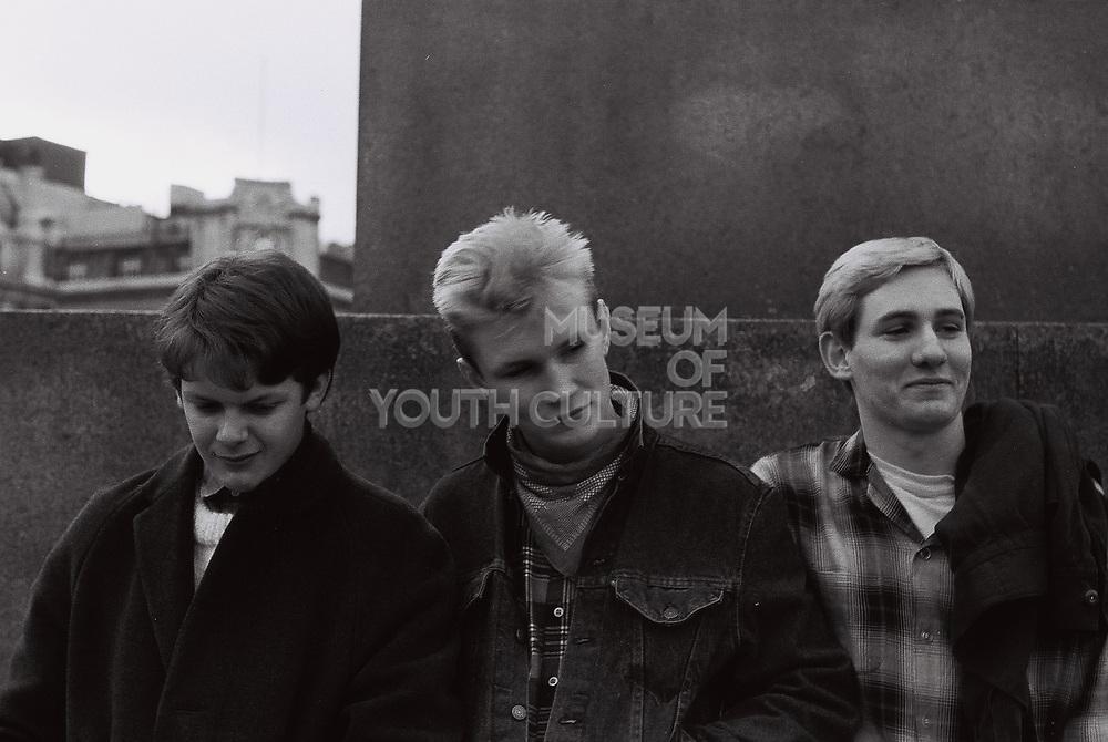 Teenagers standing outside, London, UK, 1983