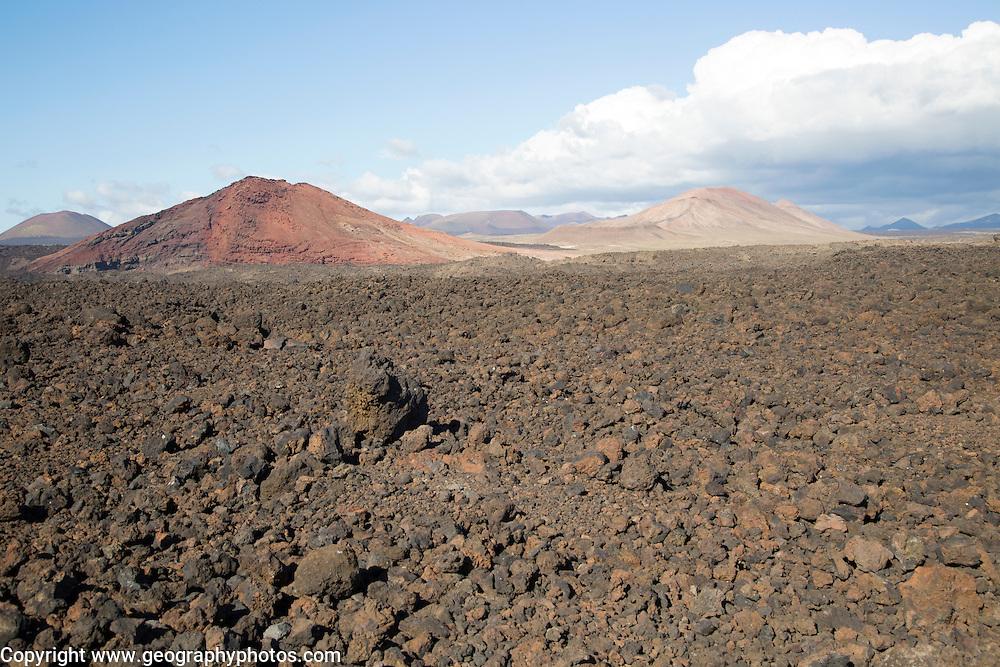 Malpais badlands volcanic landscape Parque Natural Los Volcanes, near Yaiza, Lanzarote, Canary islands, Spain - looking north east from Los Hervideros