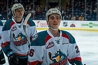 KELOWNA, CANADA - FEBRUARY 20:  Kaedan Korczak #6 and Liam Kindree #26 of the Kelowna Rockets skate to the bench to celebrate a goal against the Prince George Cougars on February 20, 2018 at Prospera Place in Kelowna, British Columbia, Canada.  (Photo by Marissa Baecker/Shoot the Breeze)  *** Local Caption ***