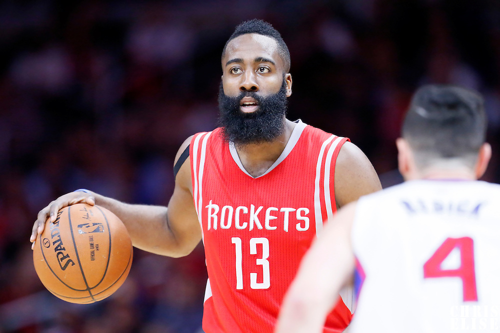 11 February 2015: Houston Rockets guard James Harden (13) brings the ball up court during the Los Angeles Clippers 110-95 victory over the Houston Rockets, at the Staples Center, Los Angeles, California, USA.