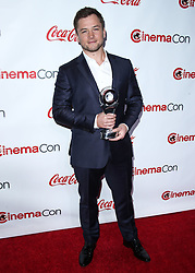LAS VEGAS, NV, USA - APRIL 26: CinemaCon Big Screen Achievement Awards 2018 held at Omnia Nightclub at Caesars Palace during CinemaCon, the official convention of the National Association of Theatre Owners on April 26, 2018 in Las Vegas, Nevada, United States. 26 Apr 2018 Pictured: Taron Egerton. Photo credit: Xavier Collin/Image Press Agency / MEGA TheMegaAgency.com +1 888 505 6342