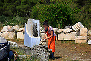 Restoration of the Temple of Asklepios  in the Sanctuary of Asklepios, Epidaurus.<br />