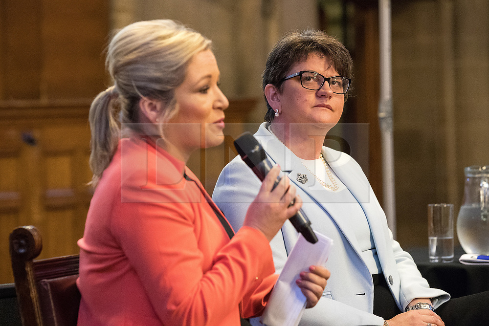 © Licensed to London News Pictures  . 03/10/2017 . Manchester , UK . MICHELLE O'NEILL , leader of Sinn Fein and ARLENE FOSTER MLA , leader of the Democratic Unionist Party ( DUP ) at a fringe event in the Great Hall in Manchester Town Hall during day three of the Conservative Party Conference at the Manchester Central Convention Centre . Photo credit : Joel Goodman/LNP
