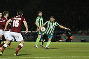 Andy Barcham of AFC Wimbledon shoots during the Sky Bet League 2 match between Northampton Town and AFC Wimbledon at Sixfields Stadium, Northampton, England on 1 March 2016. Photo by Stuart Butcher.