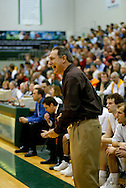 1/13/2006: Rusty Osborne, Seawolves head coach, barks out a play as Alaska Anchorage gets a comeback victory over Northwest Nazarene, 60-57, in men?s basketball action at the Wells Fargo Sports Complex on Saturday.