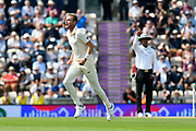 Wicket - Stuart Broad of England celebrates taking the wicket of Shikhar Dhawan of India during day two of the fourth SpecSavers International Test Match 2018 match between England and India at the Ageas Bowl, Southampton, United Kingdom on 31 August 2018.