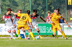 12.07.2017, Sportplatz Buergerau, Saalfelden, AUT, Testspiel, FC Pinzgau vs FC St. Pauli, im Bild Seung-Won Lee (FC St. Pauli), David Popovic (FC Pinzgau), Yiyoung Park (FC St. Pauli), Lukas Moosmann (FC Pinzgau) // during the Friendly Football Match between FC Pinzgau and FC St. Pauli at the Stadion Buergerau, Saalfelden, Austria on 2017/07/12. EXPA Pictures © 2017, PhotoCredit: EXPA/ JFK