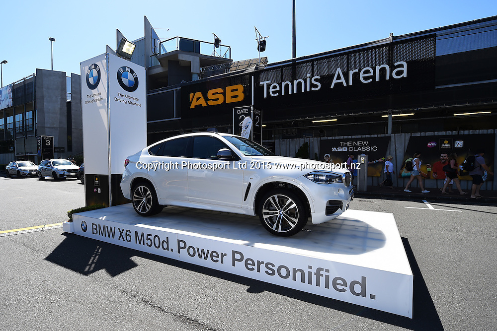 Sponsor BMW during Day 6 Finals of the 2016 ASB Classic Mens. ASB Tennis Centre, Auckland, New Zealand. Saturday 16 January 2016. Copyright Photo: Chris Symes / www.photosport.nz