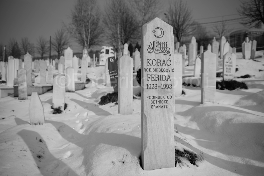 In the vast cemetery next to the sports facilities of Sarajevo, it was formerly dedicated to the sport area and during the siege was turned into a cemetery as it safer to bury