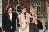 LONDON - SEPTEMBER 04: Aaron Taylor-Johnson; Keira Knightley; Edith Bowman attended the World Film Premiere of 'Anna Karenina' at the Odeon cinema, Leicester Square, London, UK. September 04, 2012. (Photo by Richard Goldschmidt)