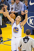 Golden State Warriors guard Stephen Curry (30) reacts to a low scoring first quarter against the Utah Jazz at Oracle Arena in Oakland, Calif., on December 20, 2016. (Stan Olszewski/Special to S.F. Examiner)