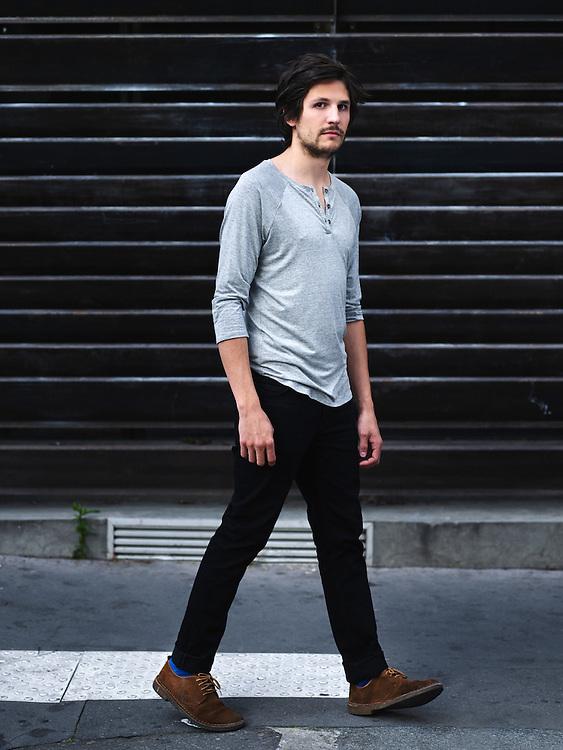 Paris, France. August 21, 2014. Actor Félix de Givry shot at the QG studio. Photo: Antoine Doyen