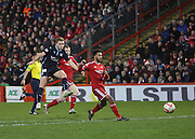 Greg Stewart fires in a shot -  Aberdeen v Dundee, SPFL Premiership at Pittodrie <br />