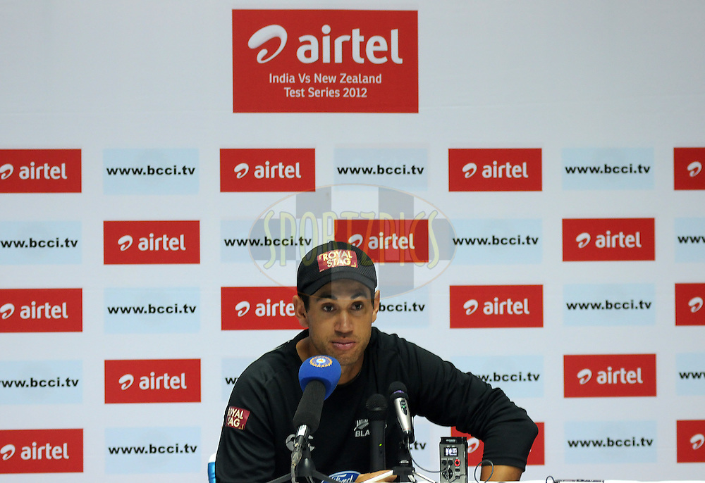 Ross Taylor captain of New Zealand address the media during a press conference on day four of the first test match between India and New Zealand held at The Rajiv Gandhi International Stadium in Hyderabad, India on the 26th August 2012..Photo by: Pal Pillai/BCCI/SPORTZPICS