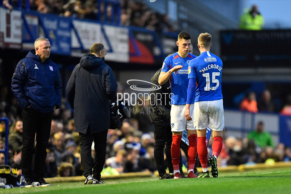 Substitution - James Bolton (13) of Portsmouth replaces Ross McCrorie (15) of Portsmouth during the EFL Sky Bet League 1 match between Portsmouth and Ipswich Town at Fratton Park, Portsmouth, England on 21 December 2019.