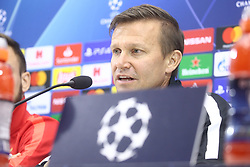 November 4, 2019, Napoli, Campania, Italy: Red Bull Salisburgo's Austrian defenser Andreas Ulmer and Red Bull Salisburgo's Jesse Marsch American coach during the press conference the day before the match of the champions league SSC Napoli vs  Red Bull Salisburgo at the San Paolo Stadium (Credit Image: © Antonio Balasco/Pacific Press via ZUMA Wire)