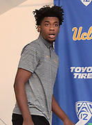 Nov 15, 2017; Los Angeles, CA, USA; UCLA Bruins forward Jalen Hill reacts during a press conference at Pauley Pavilion regarding arrest of Riley and freshman teammates LiAngelo Ball and Cody Riley (not pictured) in China for shoplifting.