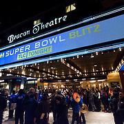 January 30, 2013 - New York, NY : People congregate in front of the Beacon Theatre in Manhattan ahead of the band TLC's VH1 Super Bowl Blitz performance on Thursday night. CREDIT: Karsten Moran for The New York Times