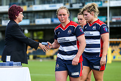 Izzy Noel Smith of Bristol Ladies collects a runners up medal after losing in the Play Off Final having finished the regular season top of the league - Rogan Thomson/JMP - 23/04/2017 - RUGBY UNION - Sixways Stadium - Worcester, England - Bristol Ladies Rugby v Aylesford Bulls - Women's Premiership Final.
