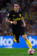 Filipe Luis with the ball during the La Liga match between Barcelona and Atletico Madrid at Camp Nou, Barcelona, Spain on 21 September 2016. Photo by Eric Alonso.
